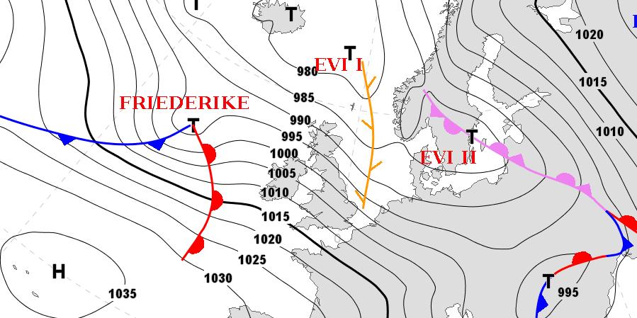 Orkantief FRIEDERIKE in der Karte der FU Berlin mit der Prognose für den 17.01.2018 13 Uhr MEZ