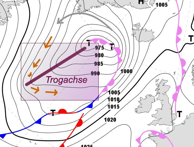 Skizze: Markierter Trog über dem offenen Atlantik, Prognose für den 11.01.18 12 UTC