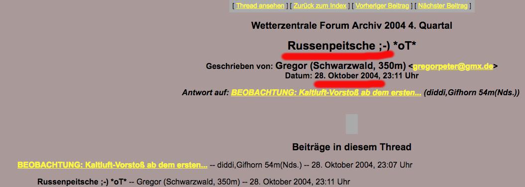 """Beitragskommentar """"Russenpeitsche"""" im Wetterzentrale-Forum vom 28. Oktober 2004"""