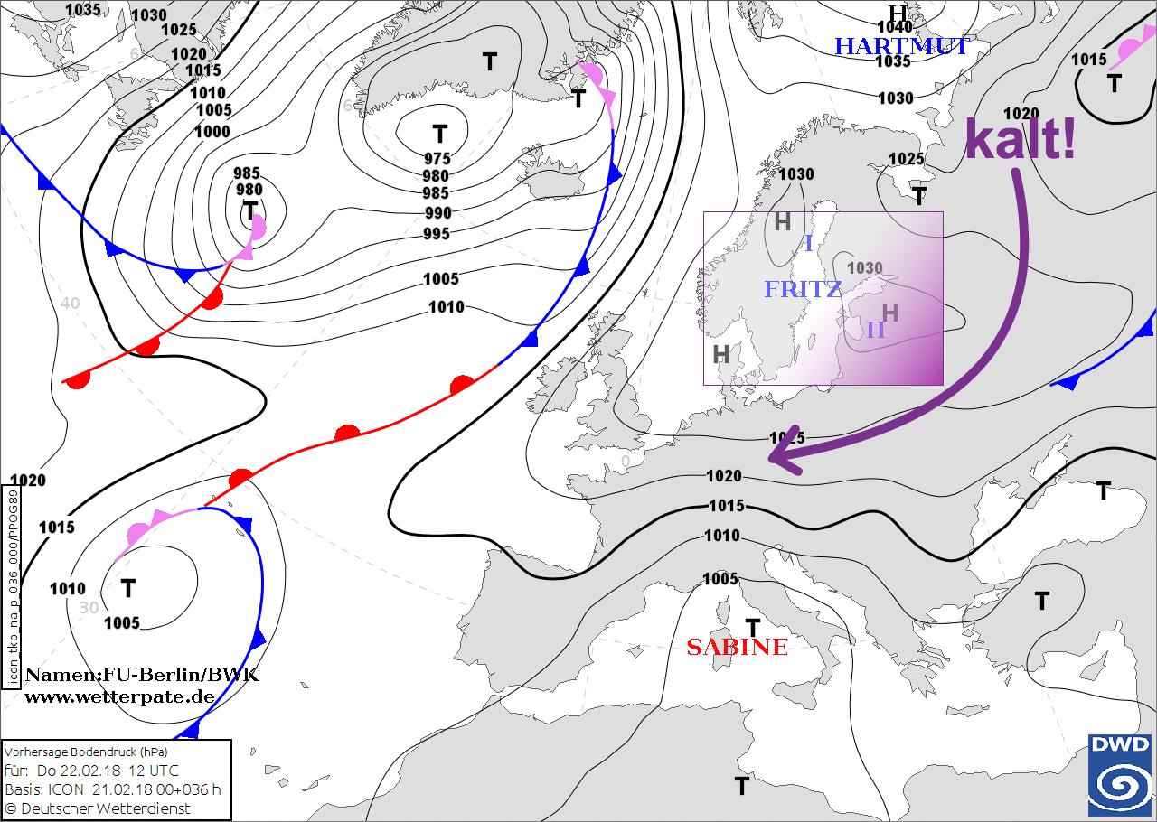 Bodenwetterkarte für den 22.02.2018 mit Kälte-Hoch FRITZ von der BWK / Aktion Wetterpate mit Erklärungen